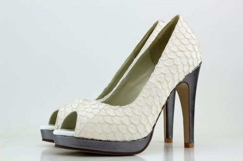 White & Grey Fishskin Heels, Shoes of Prey