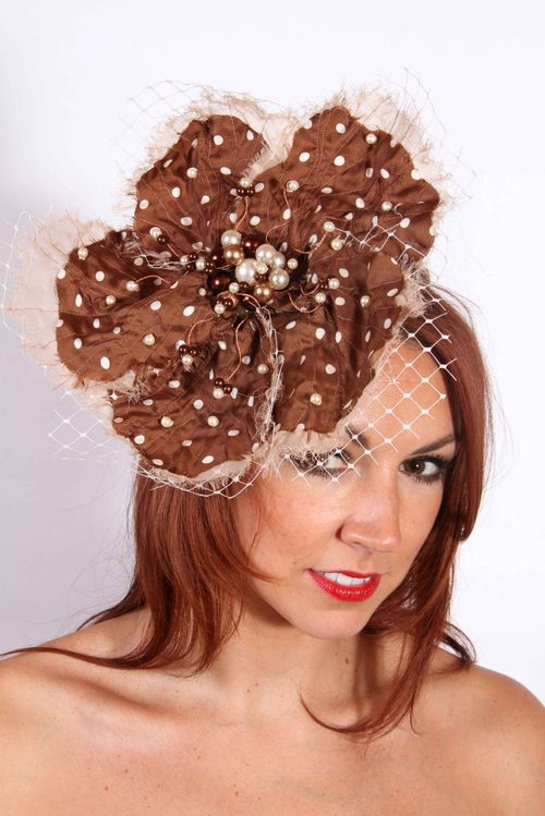 Brown Polka Dot Flower, Amanda Caroline Couture