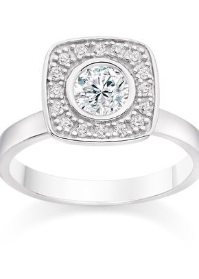 Round Cut 0.61 Halo Engagement Ring with Side Stones in 18k White Gold, Diamond Manufacturers