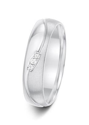 5mm 0.2 Carat Wave Patterned Mirror and Brushed Finish Diamond Wedding Ring, Aurus