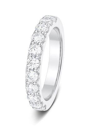 3.2mm 1.00ct 2 Claw Set Round Cut Diamonds Polished Half Eternity Ring, Aurus