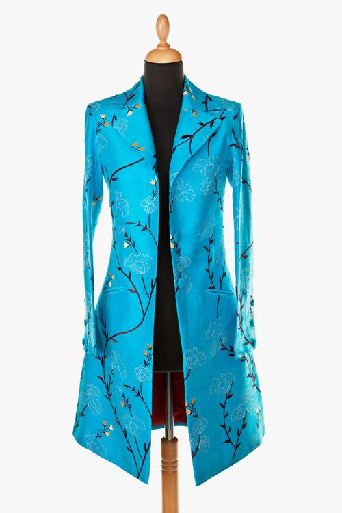 Silk Coat Women Grace Brilliant Turquoise, Shibumi