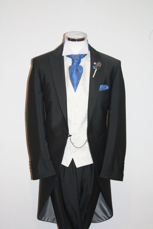 Mid Grey Tails, Scroll Ivory Waistcoat, Persian Blue, STEPHEN BISHOP