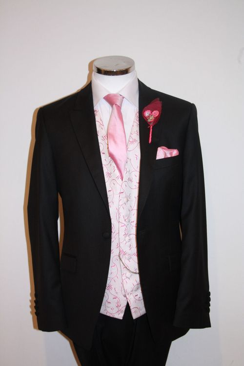 Black Lounge Suit with Raspberry Waistcoat Scroll, STEPHEN BISHOP