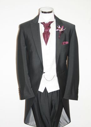 Mid Grey Tails, Scroll Ivory Waistcoat, Mulberry Cravat, STEPHEN BISHOP