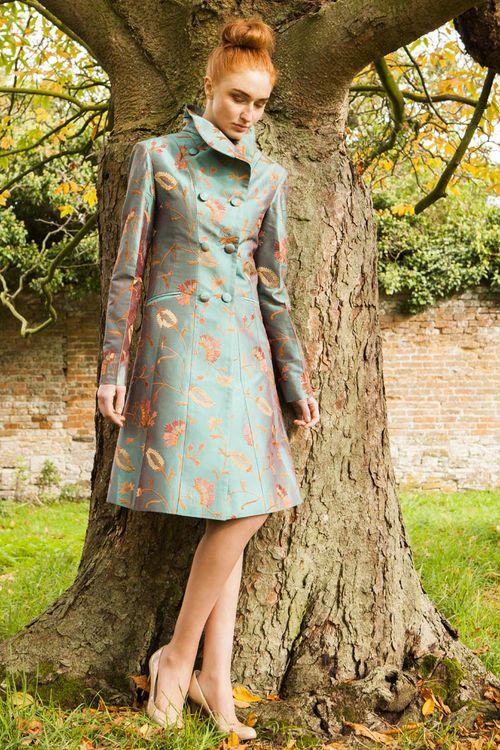 Silk Coat Women Delphine Aqua Teal, Shibumi