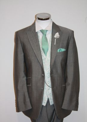 Light Grey Lounge Suit, Scroll Tiffany Waistcoat, STEPHEN BISHOP