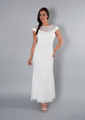 Ivory Floral Beaded Panel Mesh Dress, Chesca