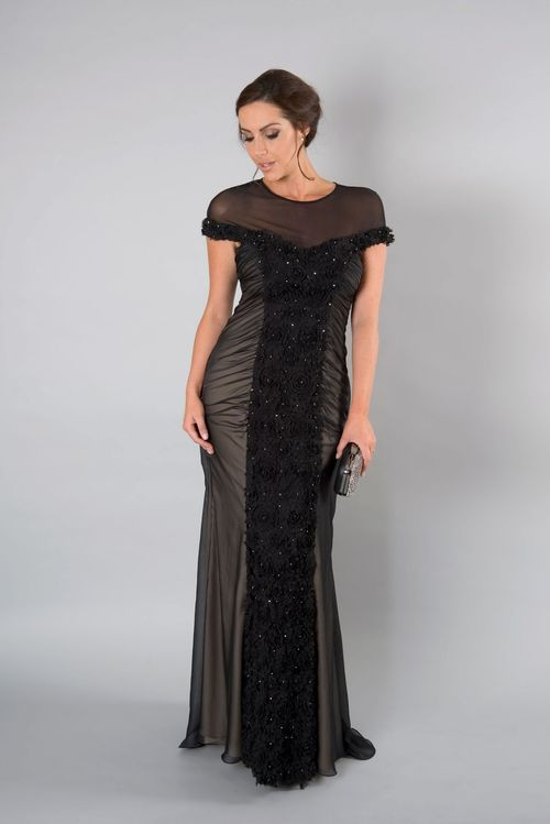 Black Floral Beaded Panel Mesh Long Dress, Chesca