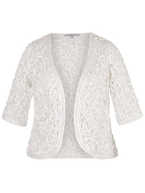 Ivory Satin Cornelli Embroidered Lace Bolero, Chesca