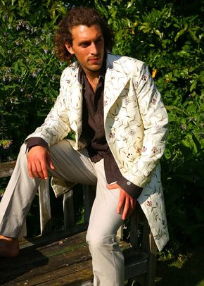 Silk Overcoat Men Ivory, Shibumi Groomswear