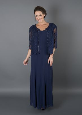 Navy Chiffon Panel Dress With Lace Jacket, Chesca