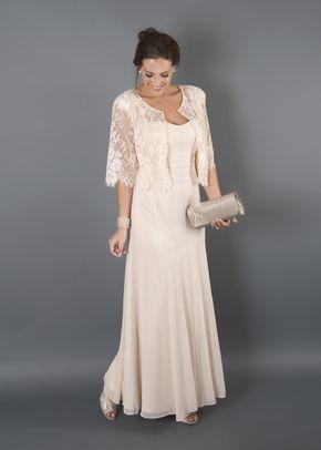 Champagne Chiffon Panel Dress Lace Jacket, Chesca