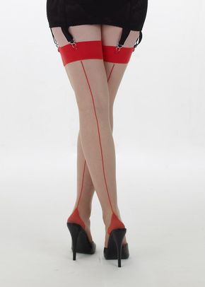 Retro Contract Seamed Stockings (nude/red), Queen Annes Lace