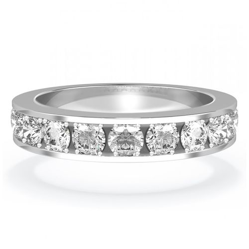 Diamond Set Wedding Ring in 18ct White Gold. Channel Set, House of Diamonds