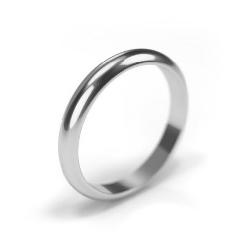 18ct White Gold Wedding Ring 3mm Band, House of Diamonds
