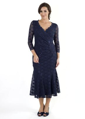 Navy Lace Sequin Trimmed Wrap Dress, Chesca