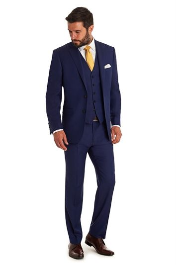 SAVOY TAYLORS GUILD REGULAR FIT BLUE BIRDSEYE MIX AND MATCH SUIT JACKET, Moss Bros