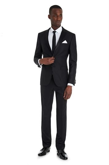 DKNY SLIM FIT BLACK DRESS SUIT, Moss Bros
