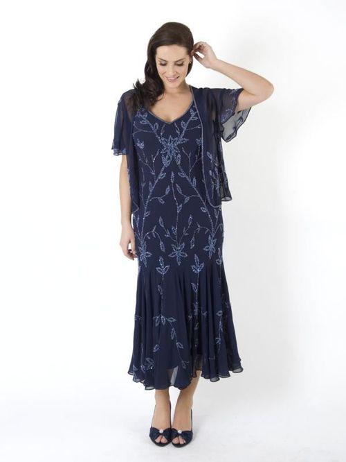Navy & Lilac Allover Beaded Dress, Chesca