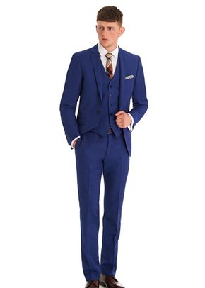 MOSS LONDON SLIM FIT BRIGHT BLUE 3 PIECE SUIT, Moss Bros