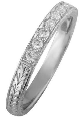 Vintage Engraved Diamond Wedding Ring, London Victorian Ring Co