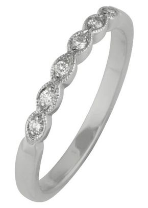 2mm Scalloped Diamond Wedding Ring, London Victorian Ring Co
