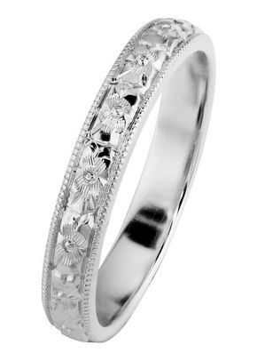 Orange Blossom Engraved Wedding Ring in Platinum, London Victorian Ring Co