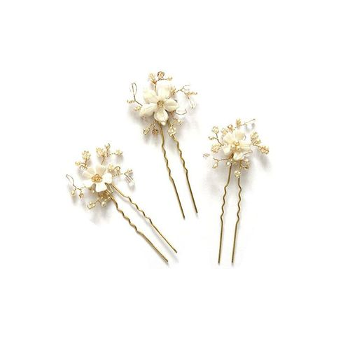 Violet pearl and crystal bridal hair pins - set of three, Lily Houston