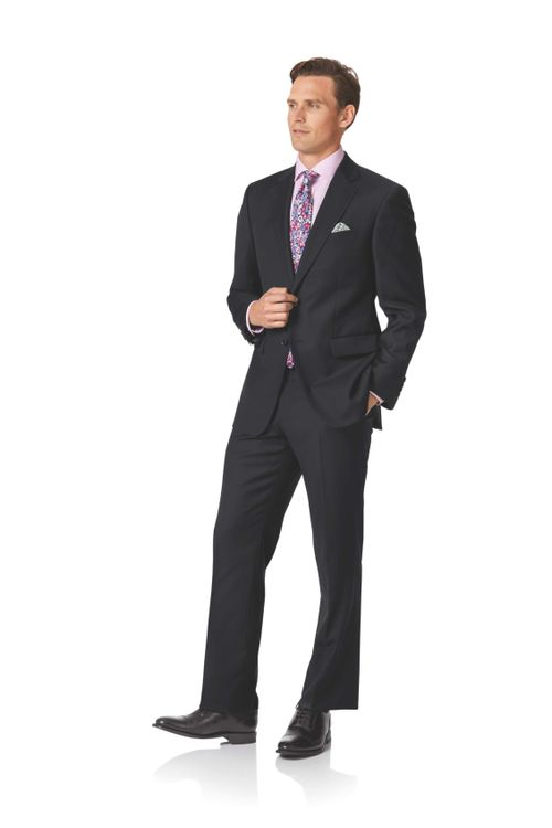 Black twill classic fit business suit, Charles Tyrwhitt