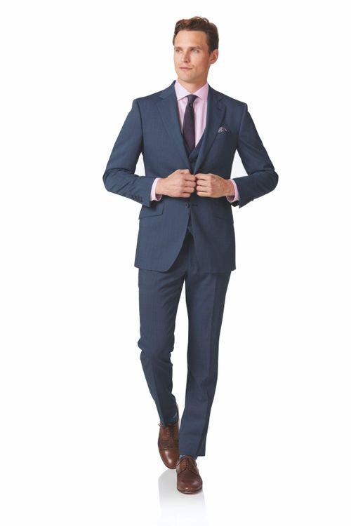 Light blue slim fit step weave suit, Charles Tyrwhitt