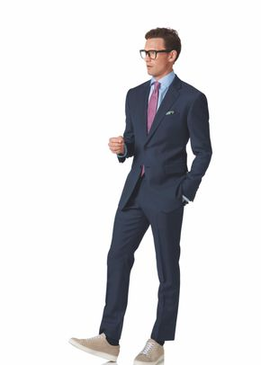 Mid blue slim fit twill business suit, Charles Tyrwhitt