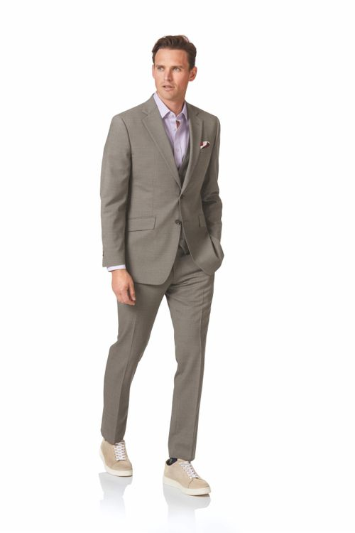 Natural puppytooth slim fit Panama business suit, Charles Tyrwhitt