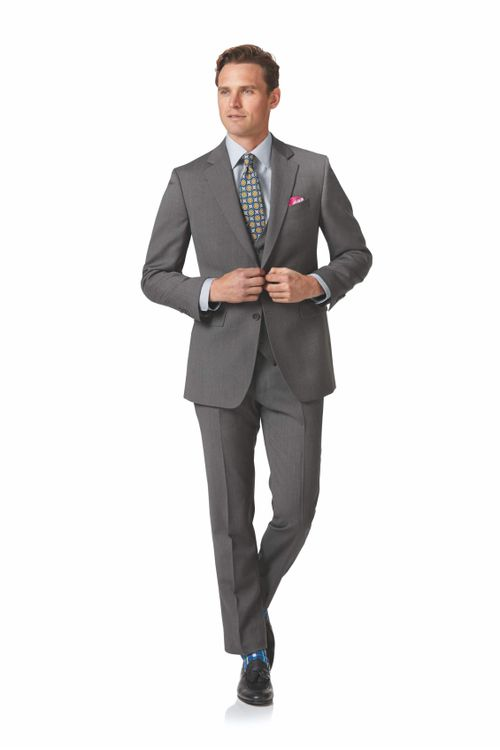 Light grey slim fit herringbone business suit, Charles Tyrwhitt