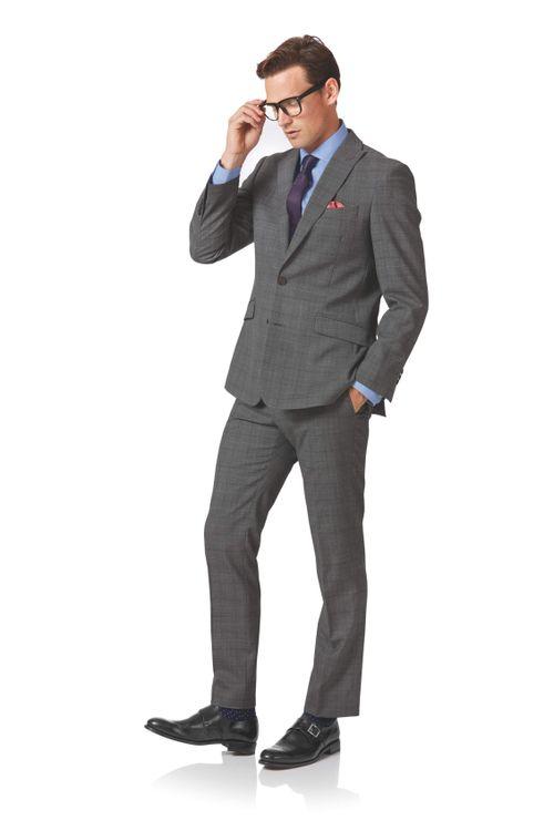Light grey check slim fit twist business suit, Charles Tyrwhitt