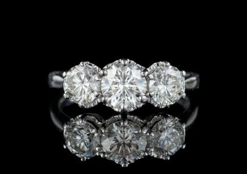 Antique Diamond Trilogy Ring 18ct White Gold 2ct Diamond Circa 1920, Laurelle Antique Jewellery