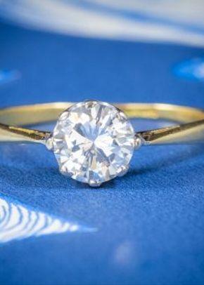 Antique Victorian Diamond Solitaire Engagement Ring 18ct Gold Circa 1900, Laurelle Antique Jewellery