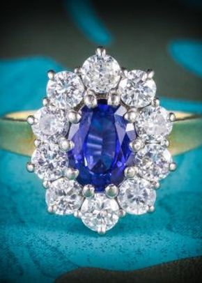 Sapphire Diamond Cluster Engagement Ring 18ct Gold 1.80ct Sapphire, Laurelle Antique Jewellery