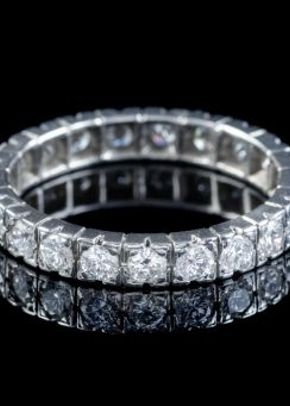 Vintage French Diamond Full Eternity Ring Platinum 2.20ct of Diamond Circa 1920, Laurelle Antique Jewellery