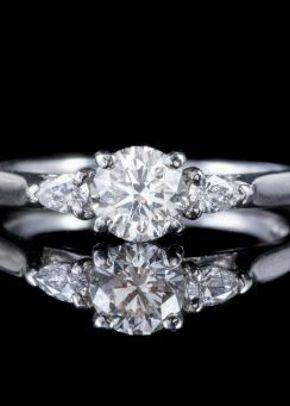 Vintage Diamond Trilogy Ring Platinum 1.01ct VS Clarity G Colour Diamonds Cert, Laurelle Antique Jewellery