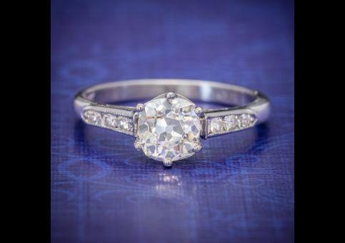 Vintage Diamond Solitaire Ring Platinum 1.25ct Old Cut Diamond Cert, Laurelle Antique Jewellery