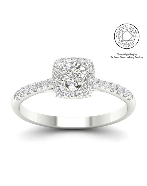 18ct White Gold & Platinum 0.75ct Total Diamond Ring, Ernest Jones