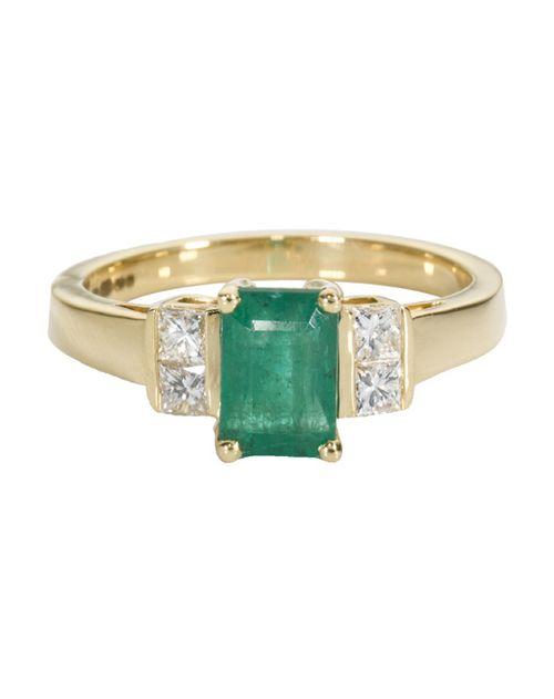 18ct Gold Emerald & 0.25ct Diamond Ring, Ernest Jones