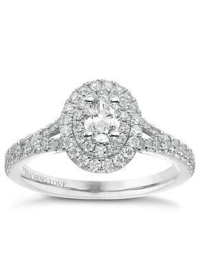 Vera Wang 18ct White Gold 0.75ct Total Diamond Halo Ring, Ernest Jones
