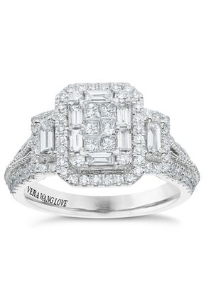 Vera Wang 18ct White Gold 0.95ct Total Diamond Cluster Ring, Ernest Jones