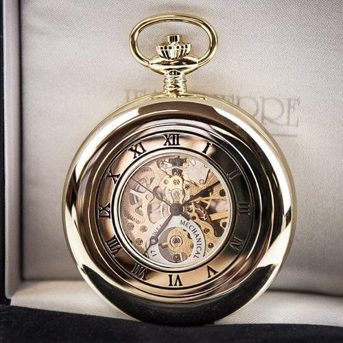 Jean Pierre Skeleton Half Hunter Pocket Watch - Gold Plated, Farrar & Tanner