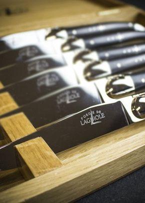 Forge De Laguiole 6 Steak Knives in Oak Box - Ebony, Farrar & Tanner