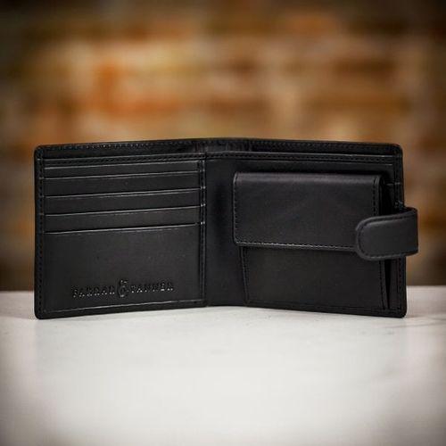 Farrar & Tanner Premium Nappa Leather Billfold Wallet with Coin Purse - Black, Farrar & Tanner