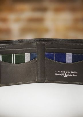 Barbour Colwell Leather Billfold Wallet - Tartan/Olive, Farrar & Tanner