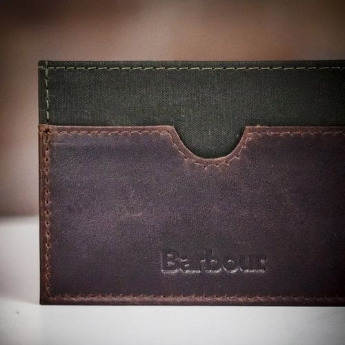 Barbour Waxed Cotton and Leather Cardholder, Farrar & Tanner